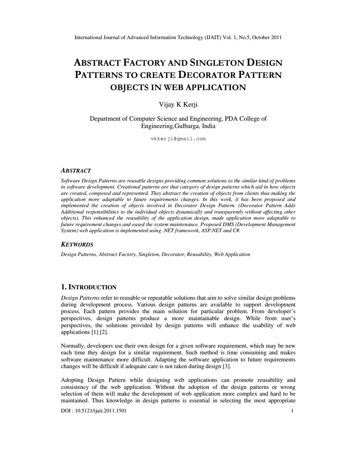 Abstract Factory And Singleton Design Patterns To Create Decorator Pattern Objects In Web Applicatio By International Journal Of Advanced Information Technology Ijait Issuu