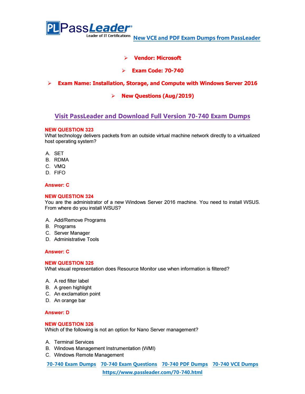 Updated 70-740 Exam 331 Q/&A PDF