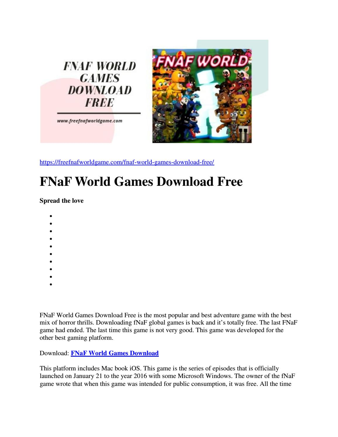 FNaF World Games Download Free by Jannat Raza - issuu