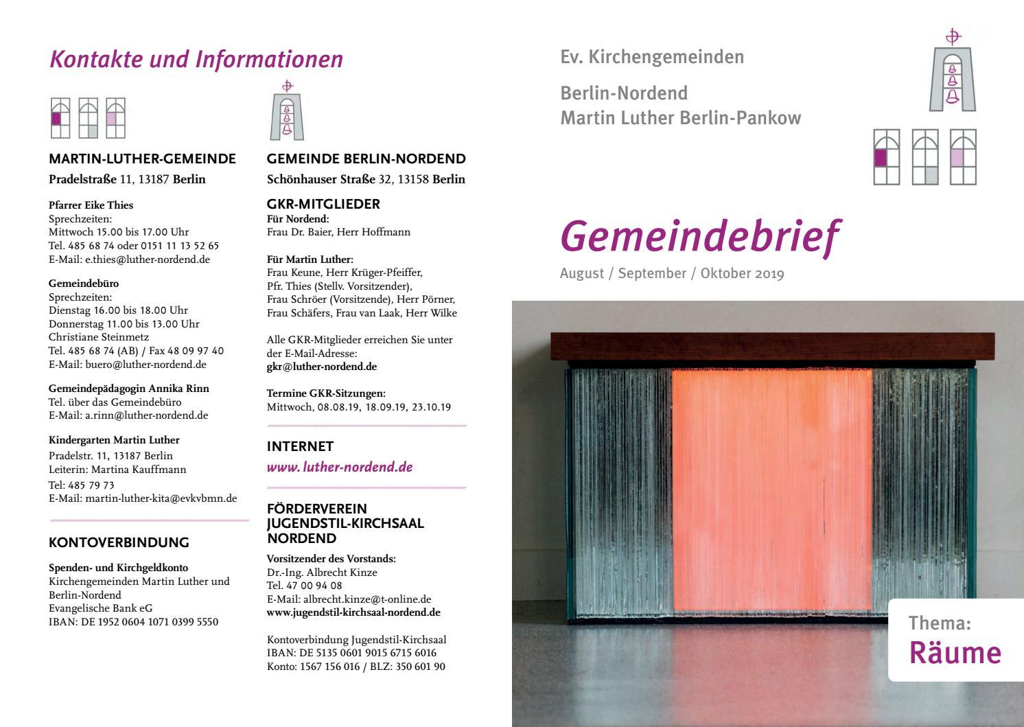 Gemeindebrief Martin Luther Nordend August bis Oktober