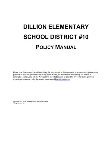 Laurel Public Schools Policy Manual By Montana School Boards