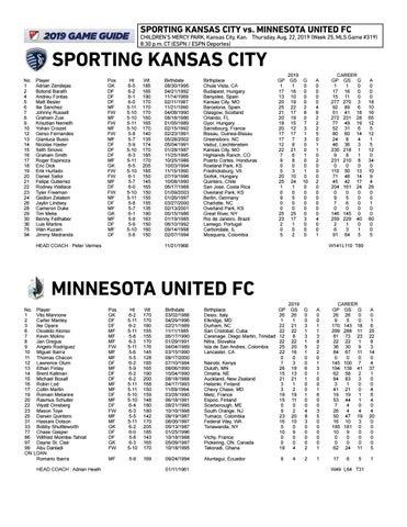 Match Notes: Sporting vs  Minnesota United FC | Aug  22