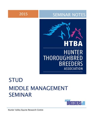 """Cover of """"2015 Thoroughbred Breeders Seminar Notes"""""""