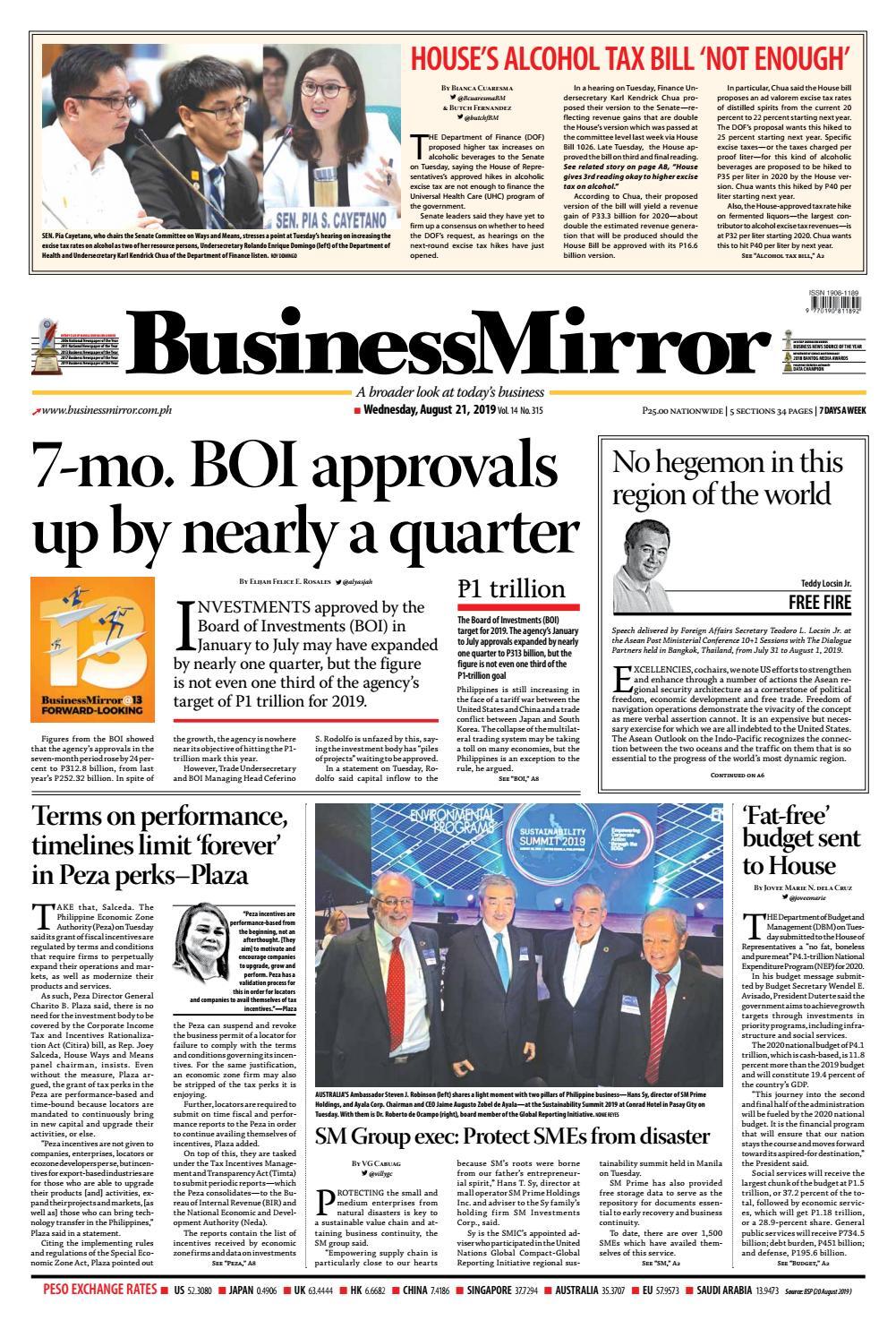 BusinessMirror August 21, 2019 by BusinessMirror - issuu