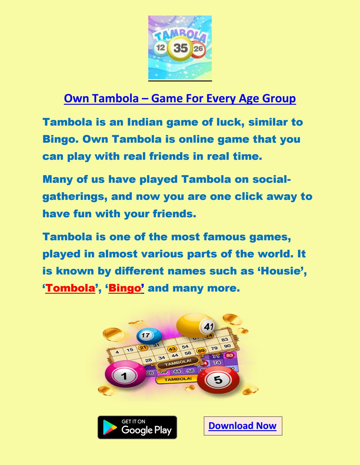 Own Tambola Online By Own Tambola Issuu