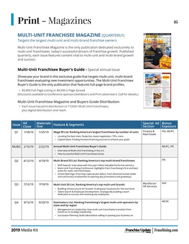 Page 16 of Multi-Unit Franchisee Magazine 2019 Editorial Calendar