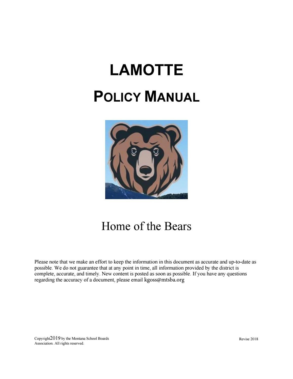 Lamotte Elementary Policy Manual by Montana School Boards