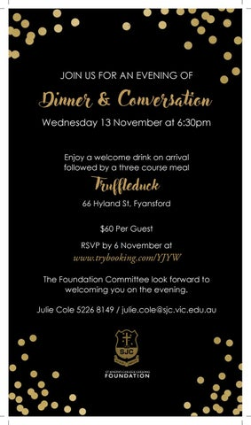 Foundation Dinner Invite 2019 by St Joseph's College Geelong