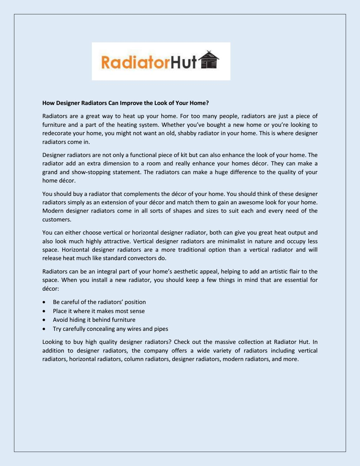 How Designer Radiators Can Improve The Look Of Your Home By Radiatoroutlet Issuu