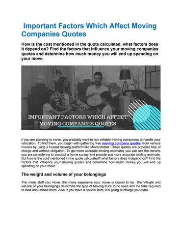Moving Company Quotes >> Important Factors Which Affect Moving Companies Quotes By