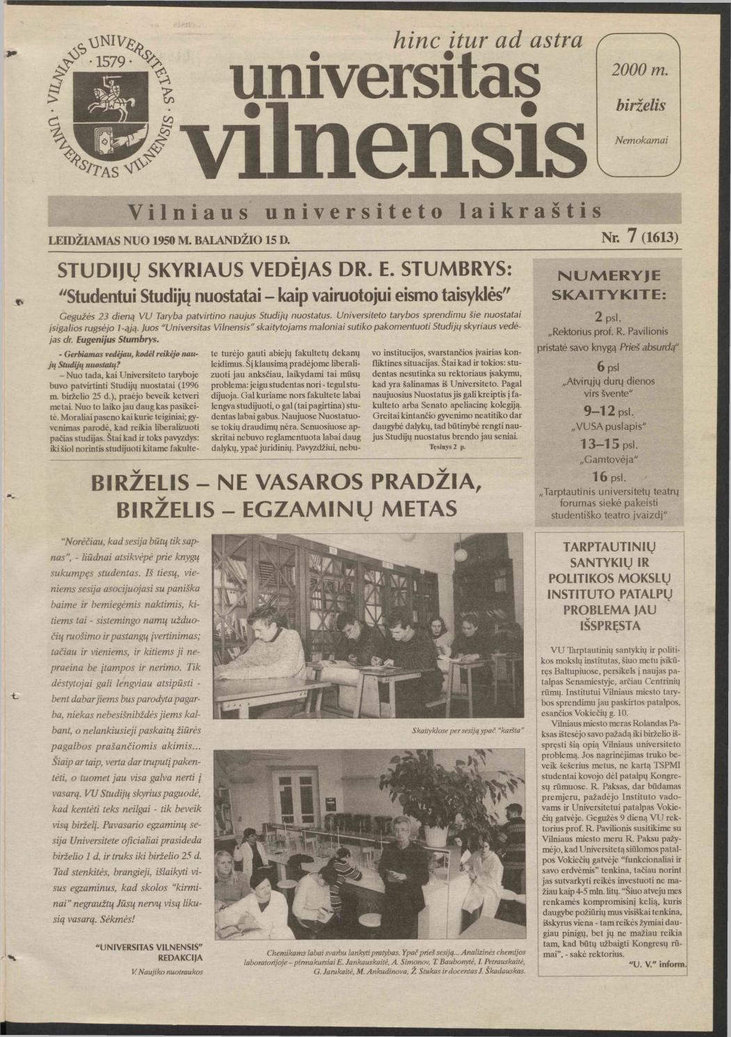 Universitas Vilnensis, 2000 m  birželis Nr  7 (1613) by