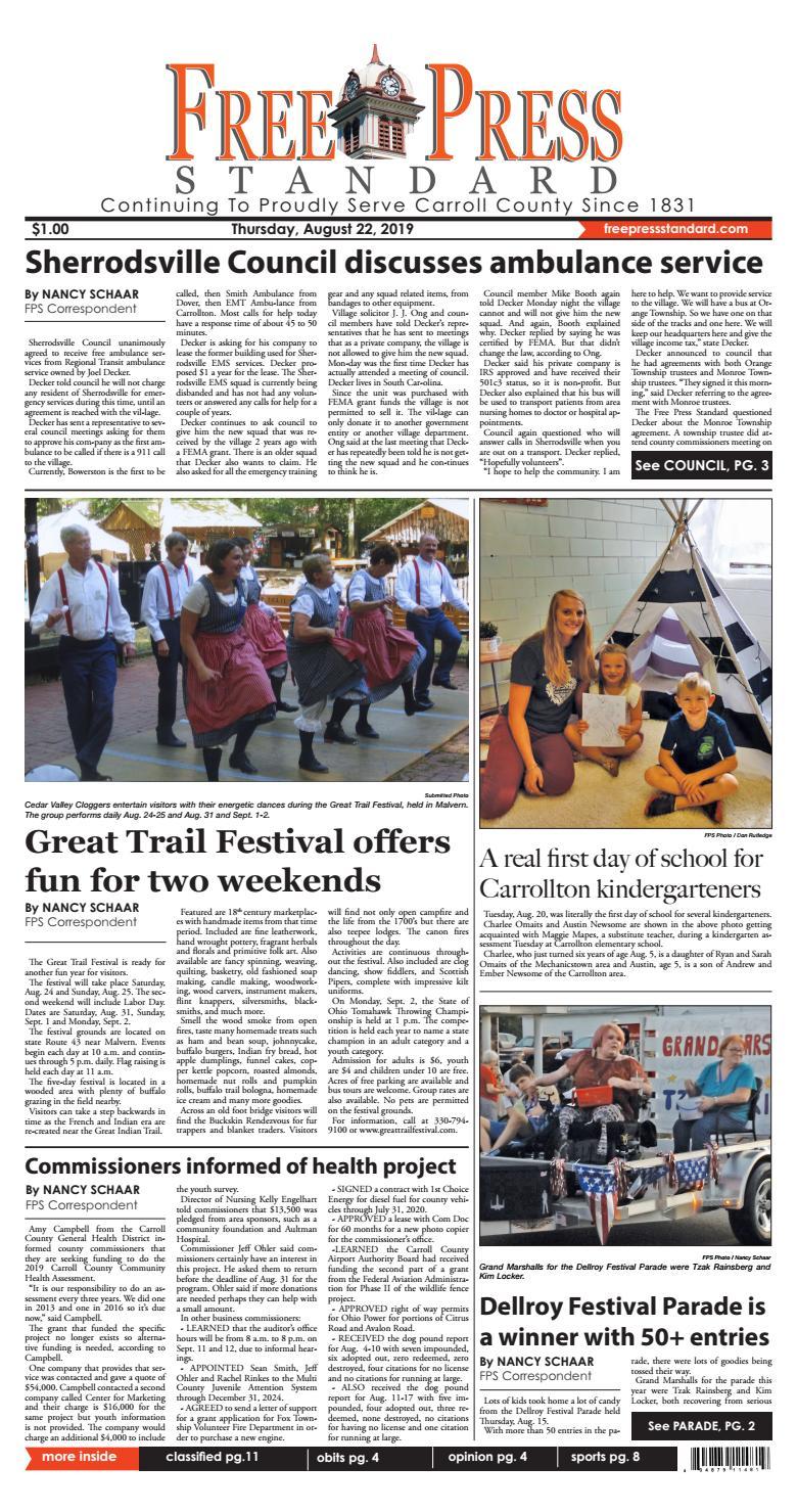 The Free Press Standard, August 22, 2019 by Schloss Media