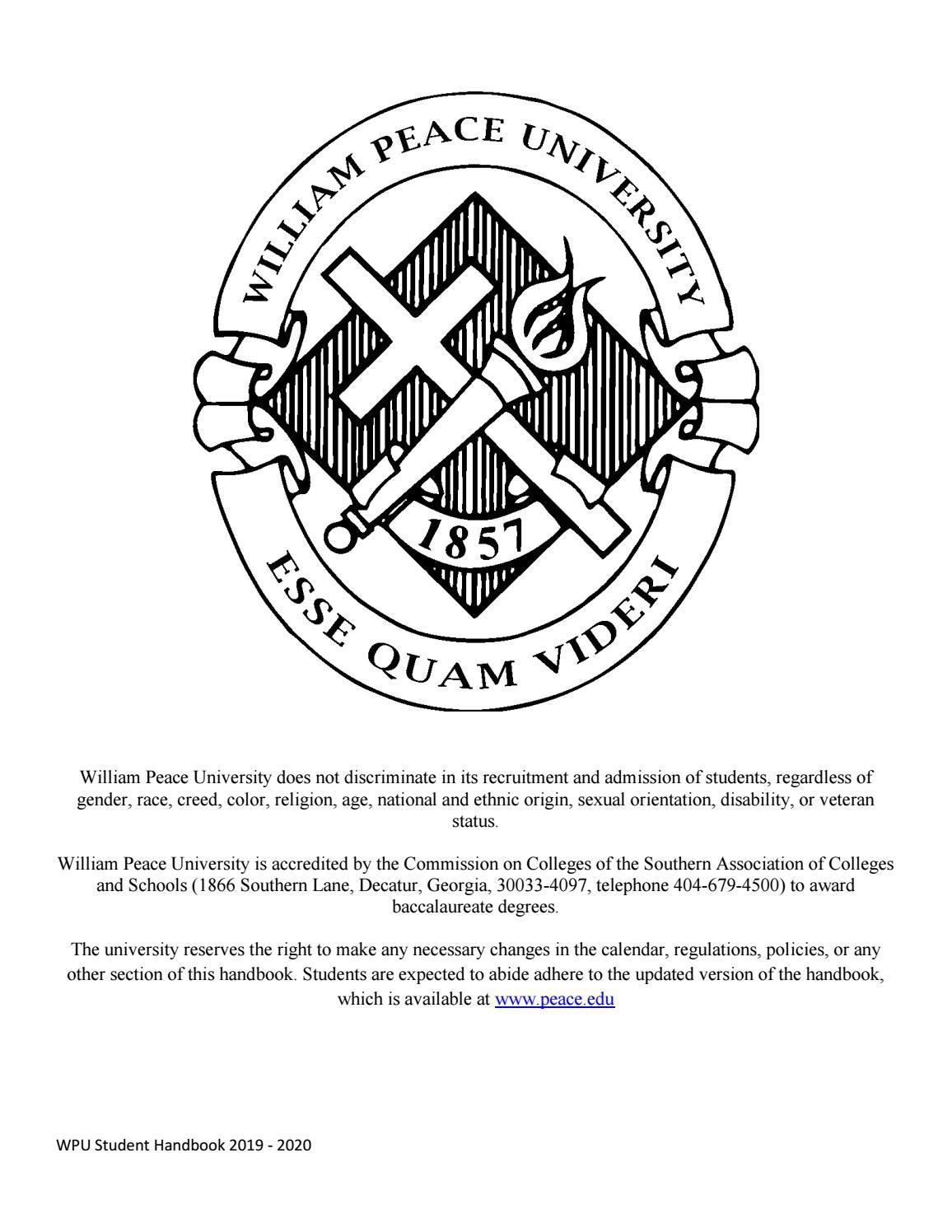 WPU 2019-2020 Student Handbook by William Peace University