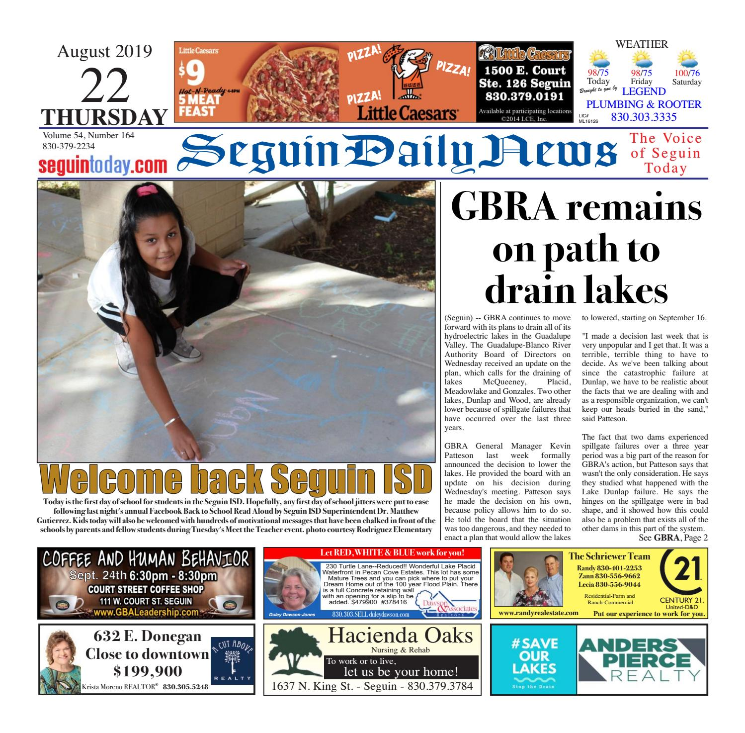 SDN, August 22, 2019 by Seguin Daily News - issuu