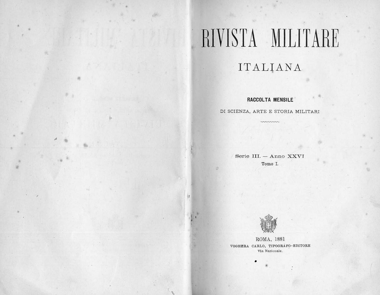 RIVISTA MILITARE 1881 TOMO I by Biblioteca Militare issuu