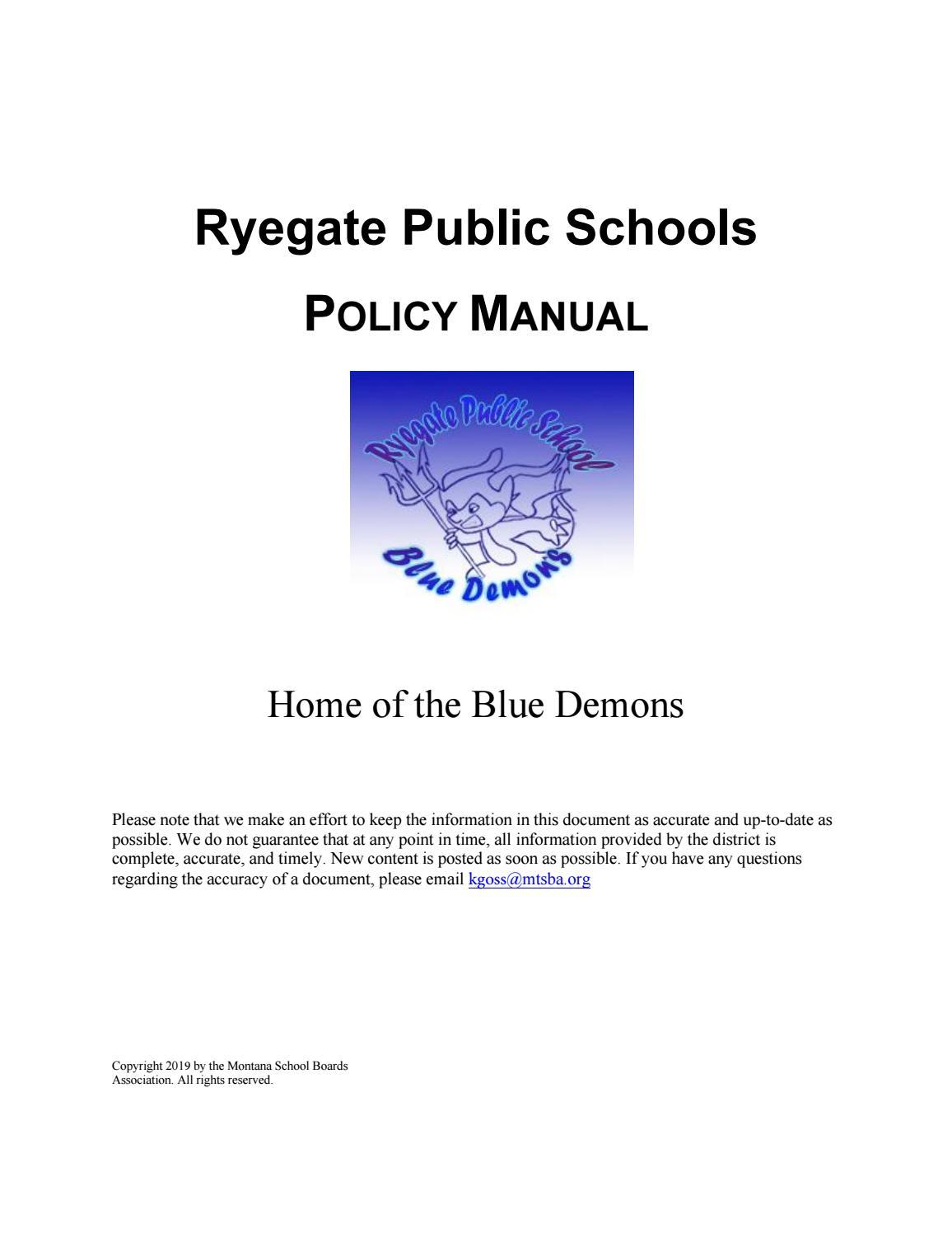 Ryegate Public Schools Policy Manual by Montana School