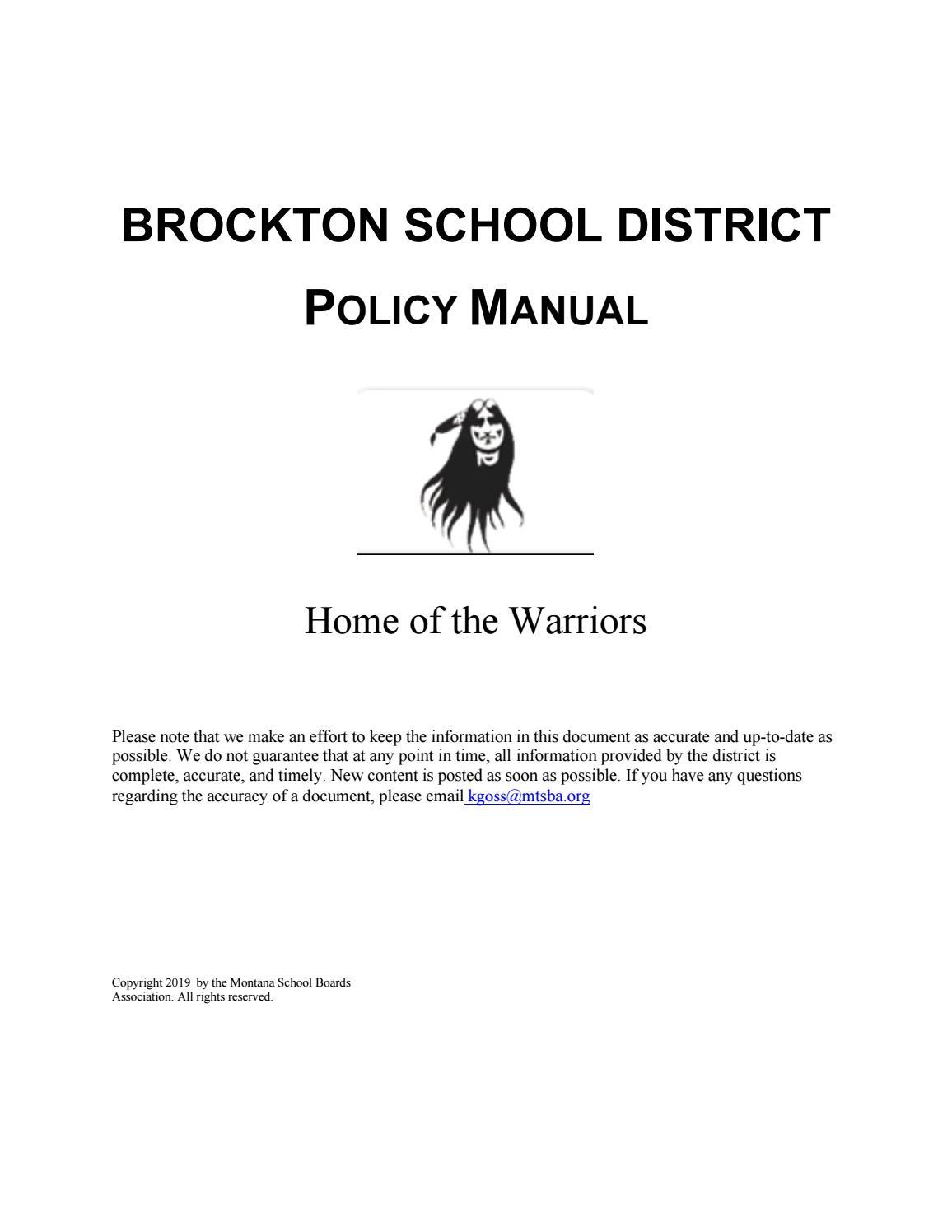 Brockton School District Policy Manual by Montana School
