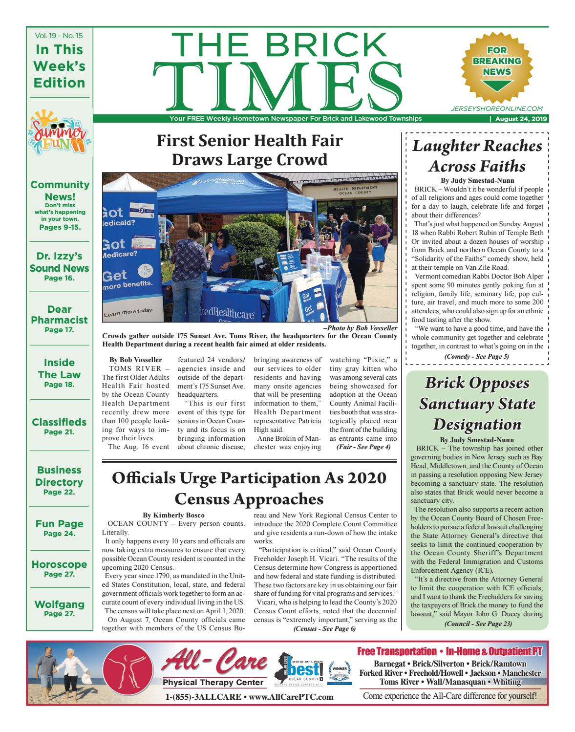 2019 08 24 The Brick Times By Micromedia Publications Jersey Shore Online Issuu