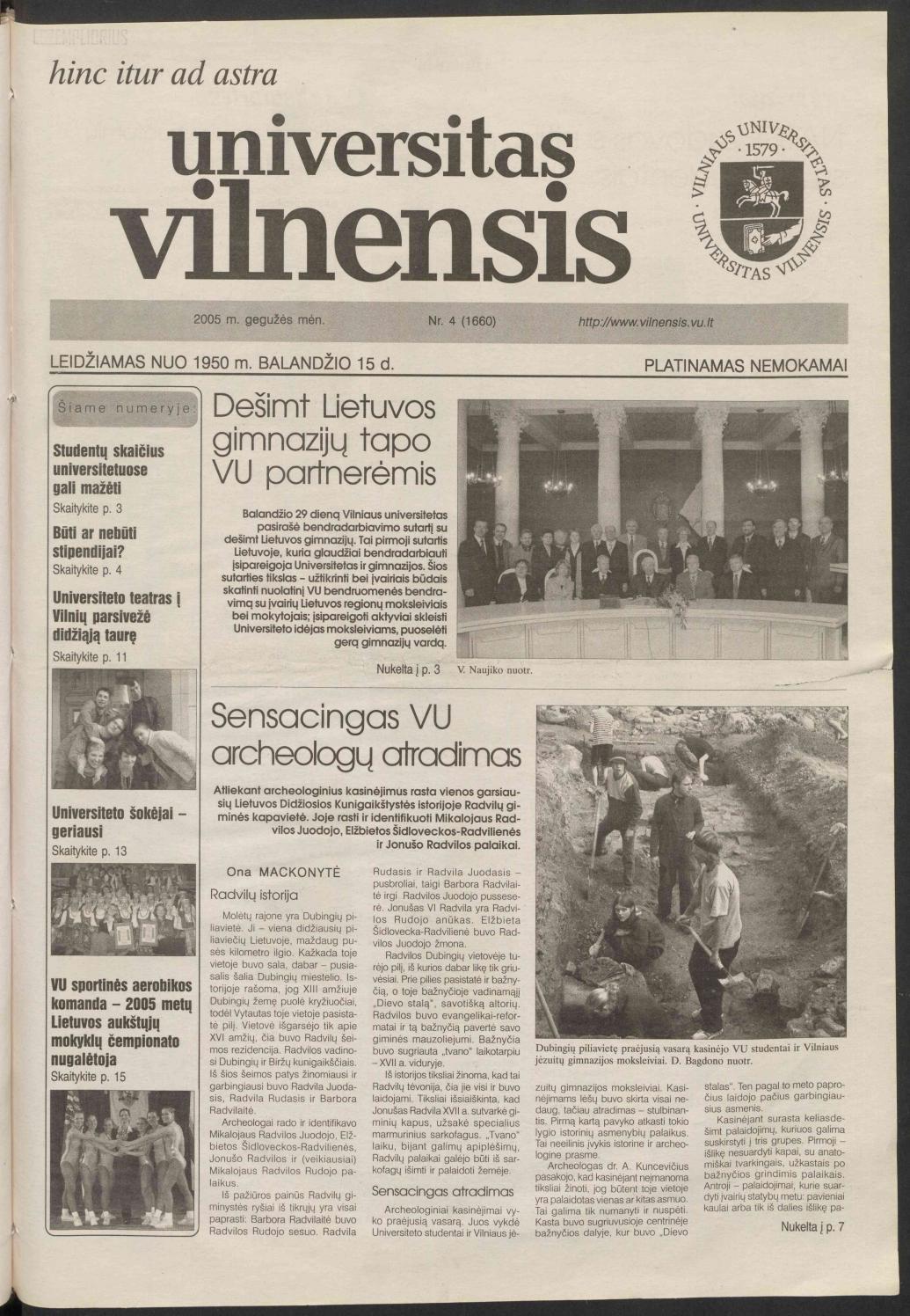 Universitas Vilnensis, m. gruodis Nr. 8 () by Vilniaus universitetas - Issuu
