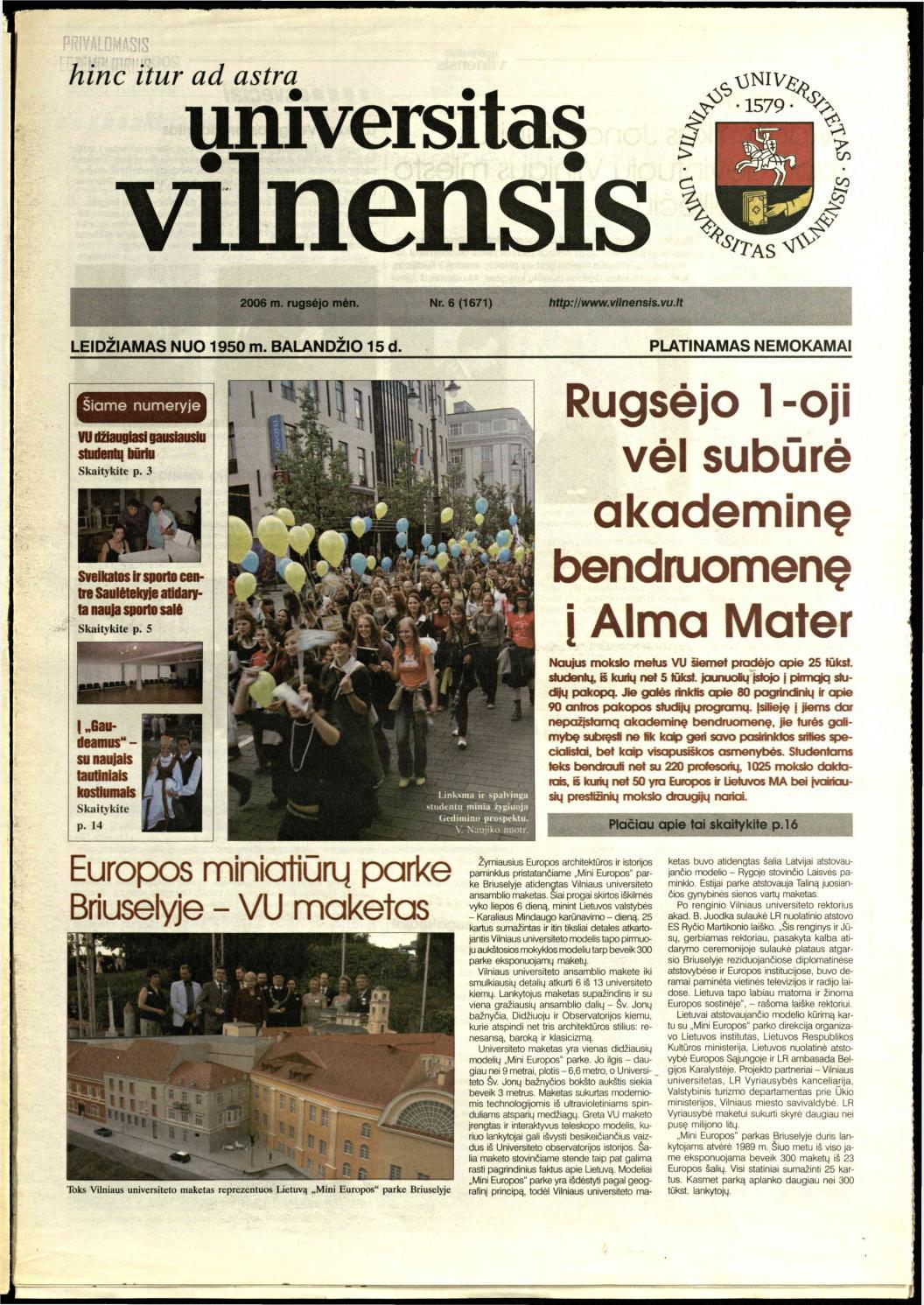Universitas Vilnensis, 2006 m  rugsėjo mėn  Nr  6 (1671) by