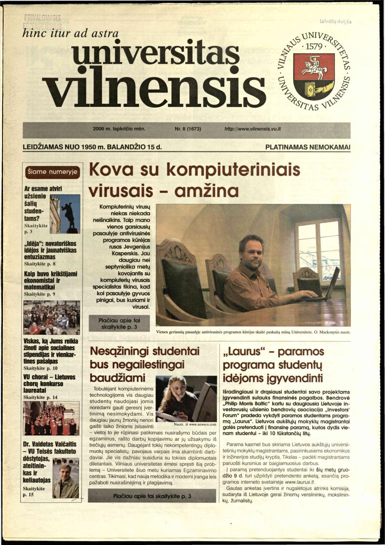 Universitas Vilnensis, 2006 m  lapkričio mėn  Nr  8 (1673