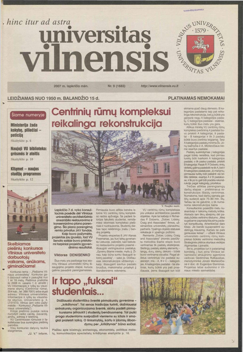Universitas Vilnensis, 2007 m  lapkričio mėn  Nr  9 (1683