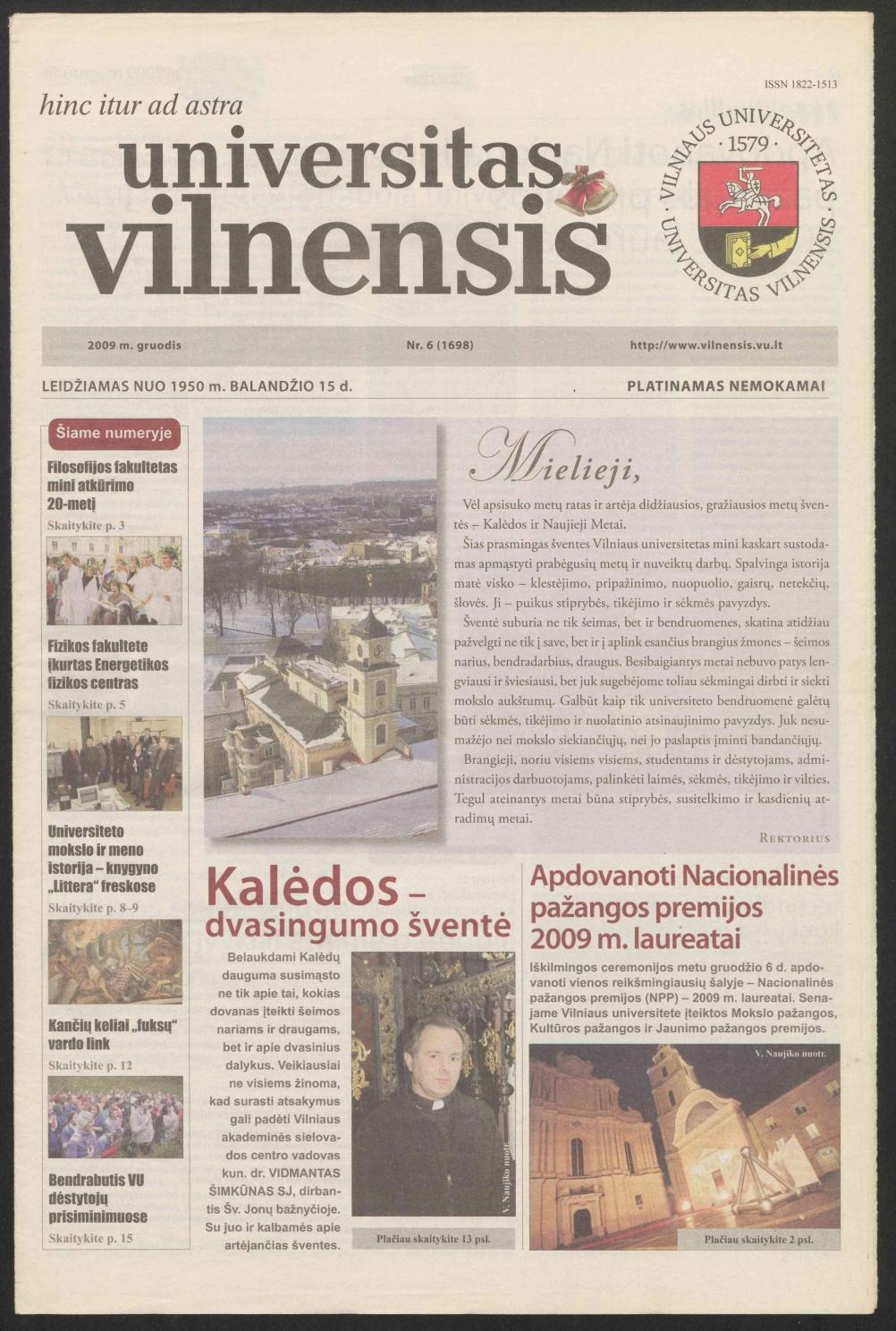 Universitas Vilnensis, 2009 m  gruodis Nr  6 (1698) by