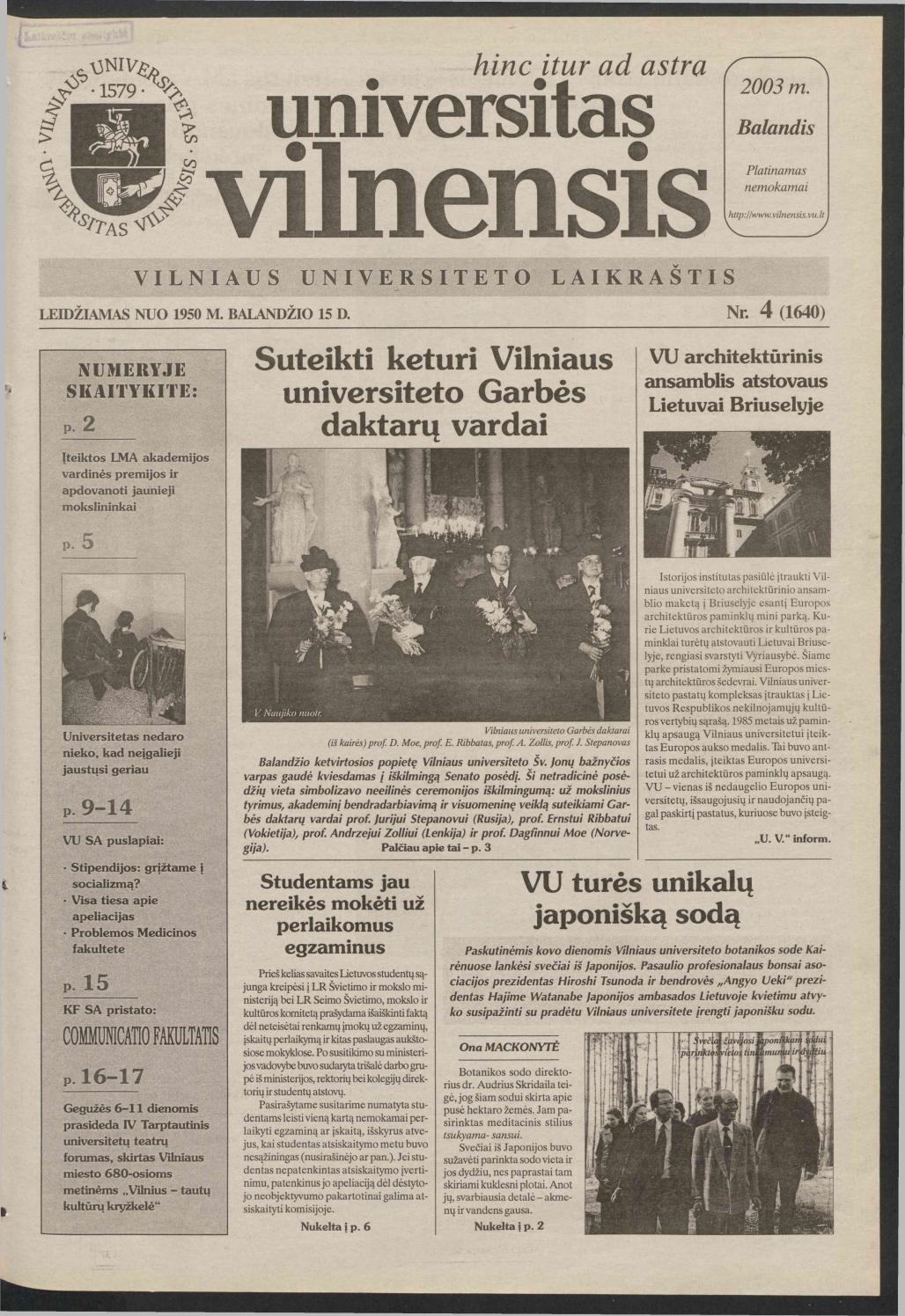 Universitas Vilnensis, 2003 m  balandis Nr  4 (1640) by