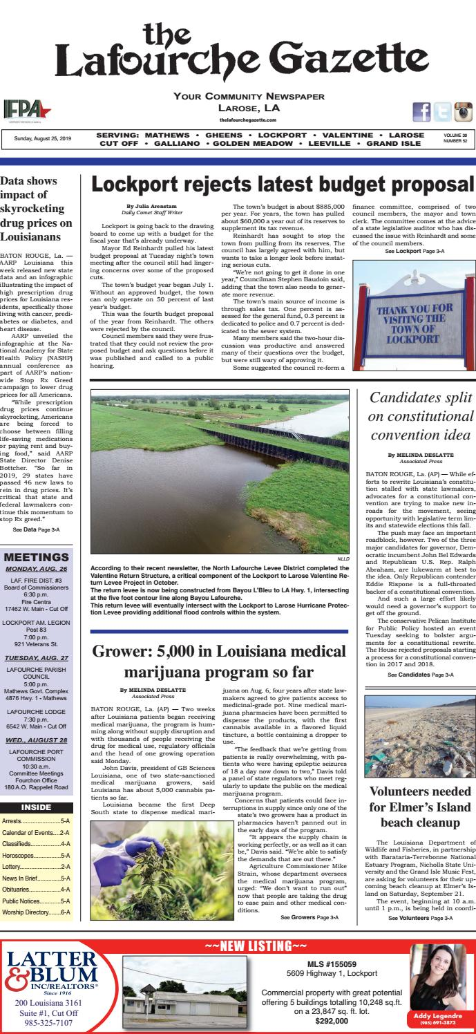 Sunday, August 25, 2019 THE LAFOURCHE GAZETTE by The