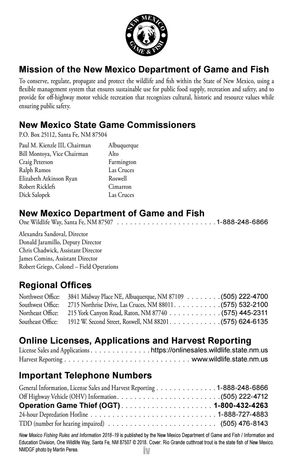 New Mexico Motor Vehicle Division Albuquerque Nm >> 2018 2019 New Mexico Fishing Rules And Information Book By