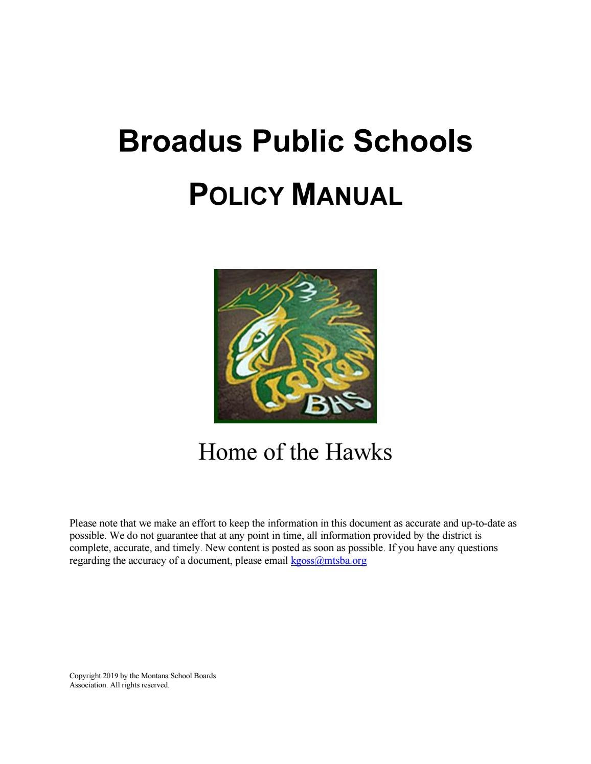 Broadus Public Schools Policy Manual by Montana School