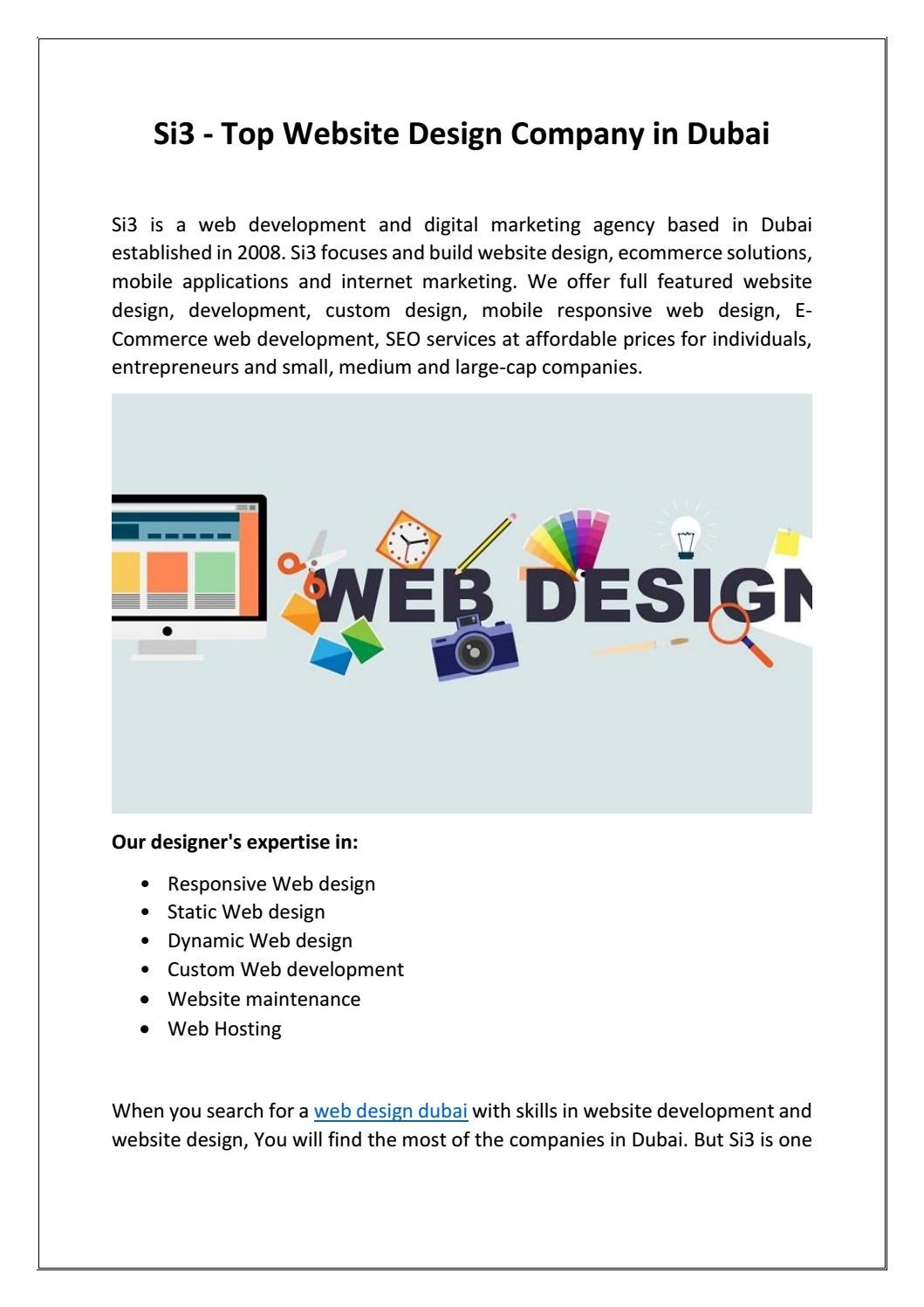 Si3 Top Website Design Company In Dubai By Devin Patrik Issuu