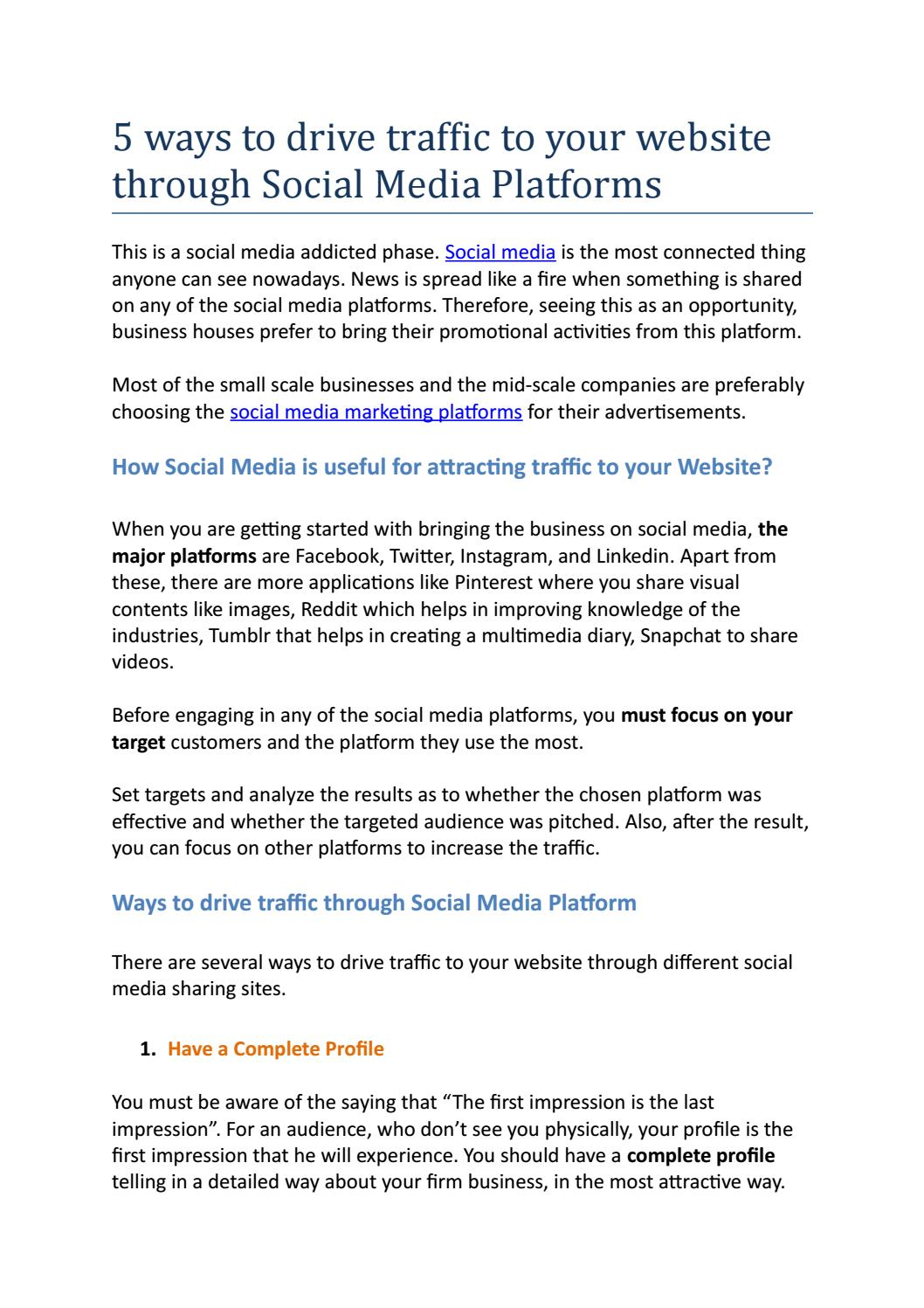 5 Ways To Drive Traffic To Your Website Through Social Media Platforms By Sikha Sinha Issuu