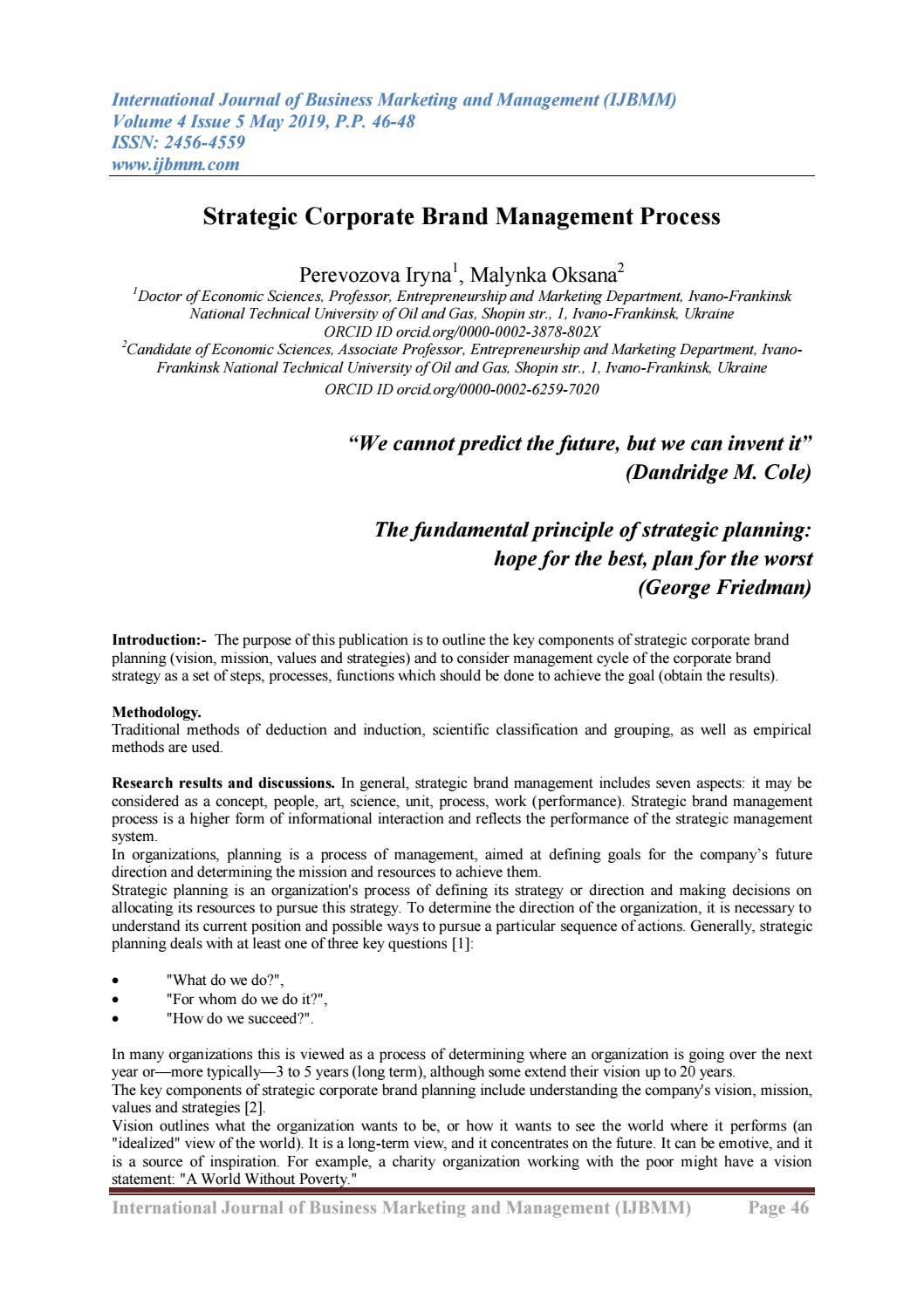 Strategic Corporate Brand Management Process By Ijbmm Journal Issuu