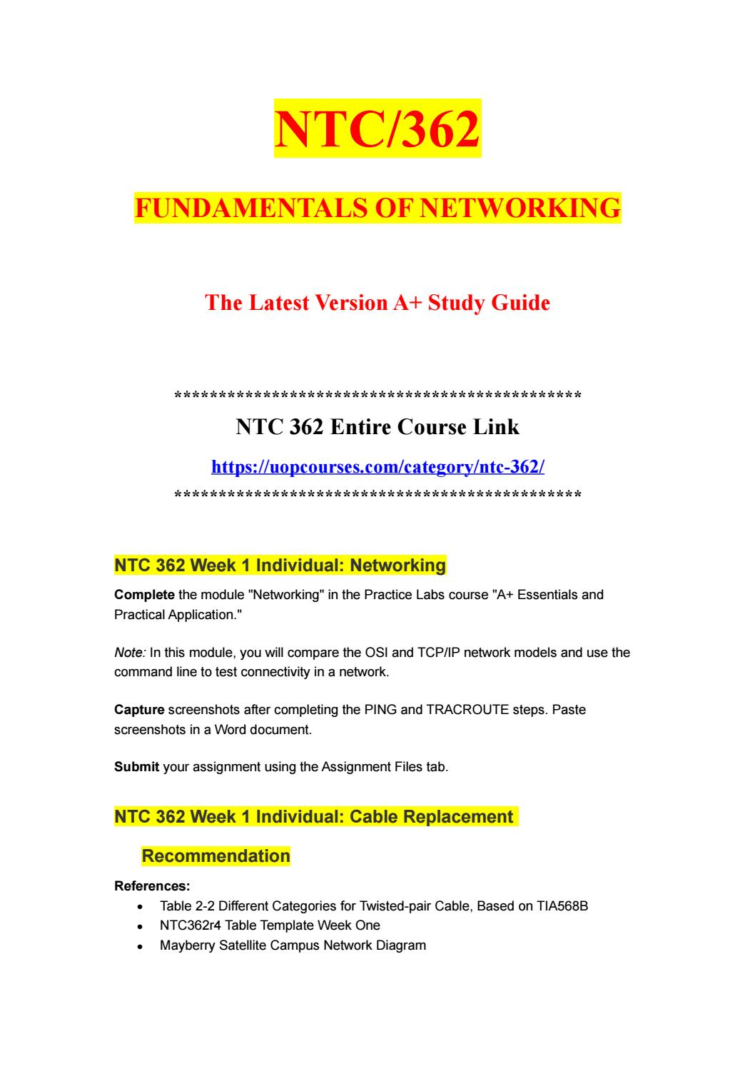 NTC/362 FUNDAMENTALS OF NETWORKING//https://uopcourses com