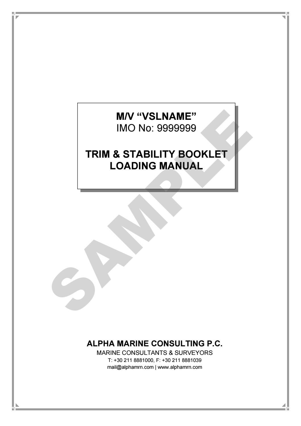 TRIM & STABILITY BOOKLET - LOADING MANUAL SAMPLE by Alpha