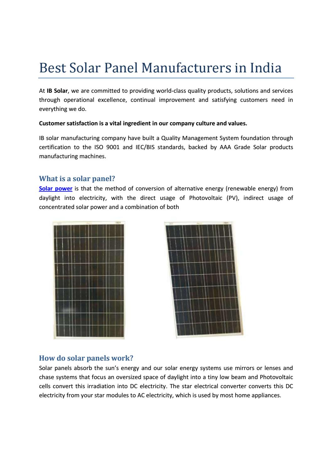 Best Solar Panel Manufacturers In India By Ibsolar Issuu
