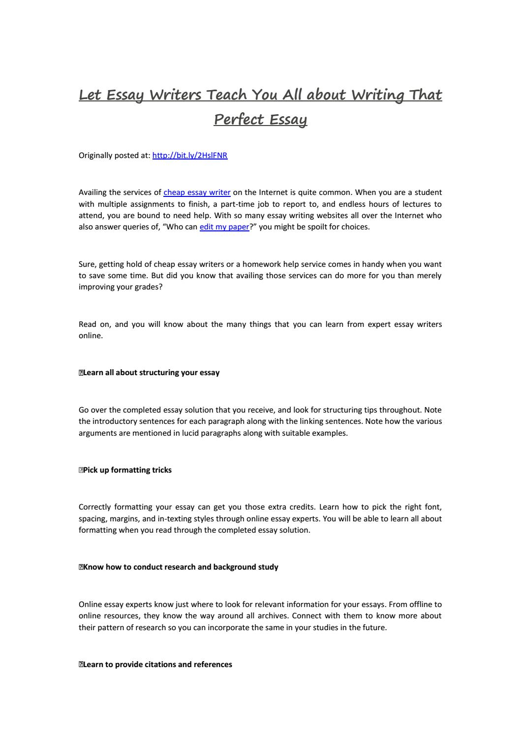 Let Essay Writers Teach You All About Writing That Perfect