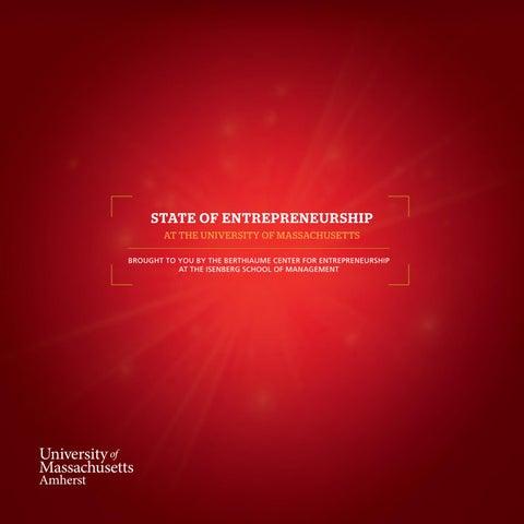 State of Entrepreneurship at the University of Massachusetts