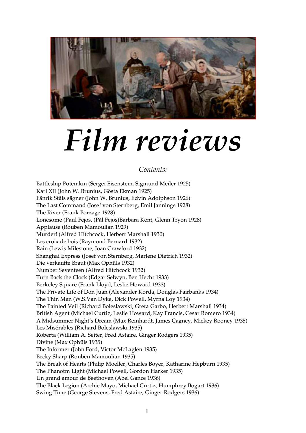 Film reviews by Christian Lanciai - issuu
