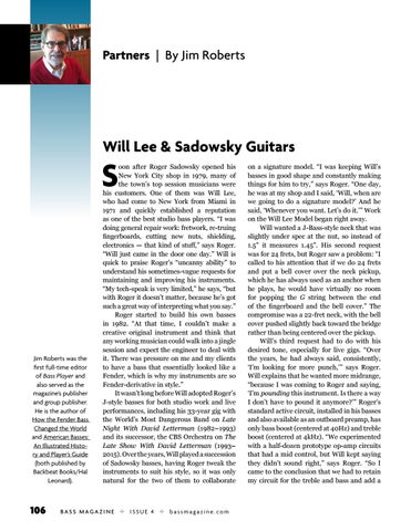 Page 106 of Partners: Will Lee and Sadowsky Guitars