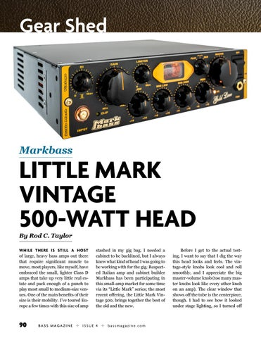 Page 90 of Review: Markbass Little Mark Vintage 500-Watt Head