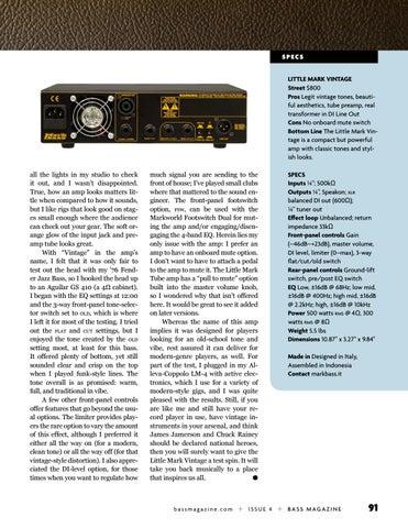 Page 91 of Review: Markbass Little Mark Vintage 500-Watt Head