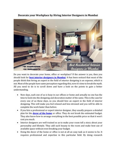 Decorate Your Workplace By Hiring Interior Designers In Mumbai By Home2decor Issuu
