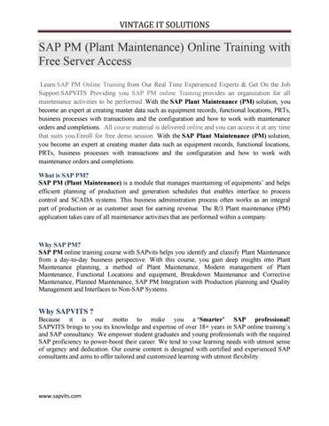 SAP PM Online Training Tutorial   PDF   by kalyani allentics