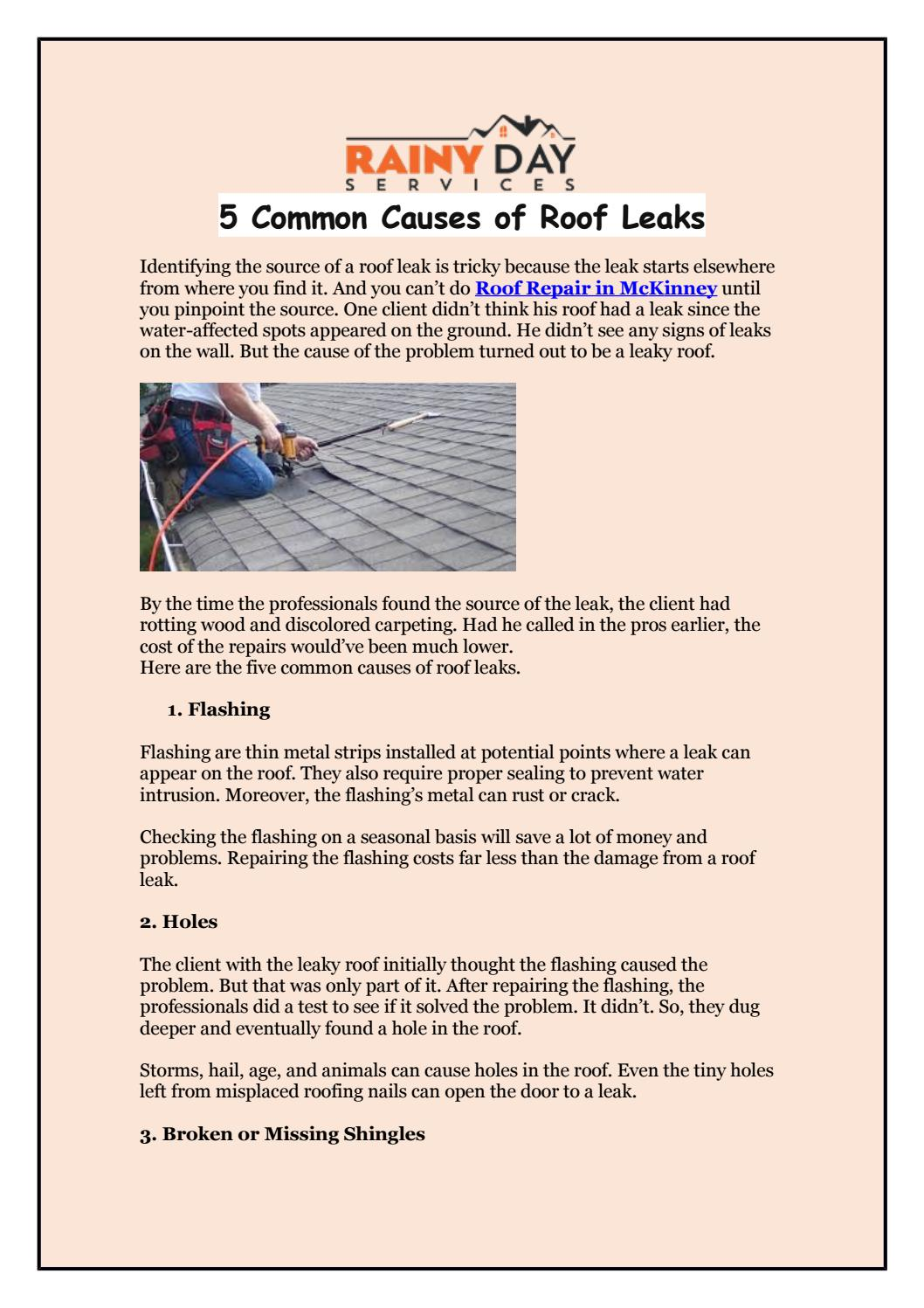 5 Common Causes Of Roof Leaks By Rainydayservices Issuu