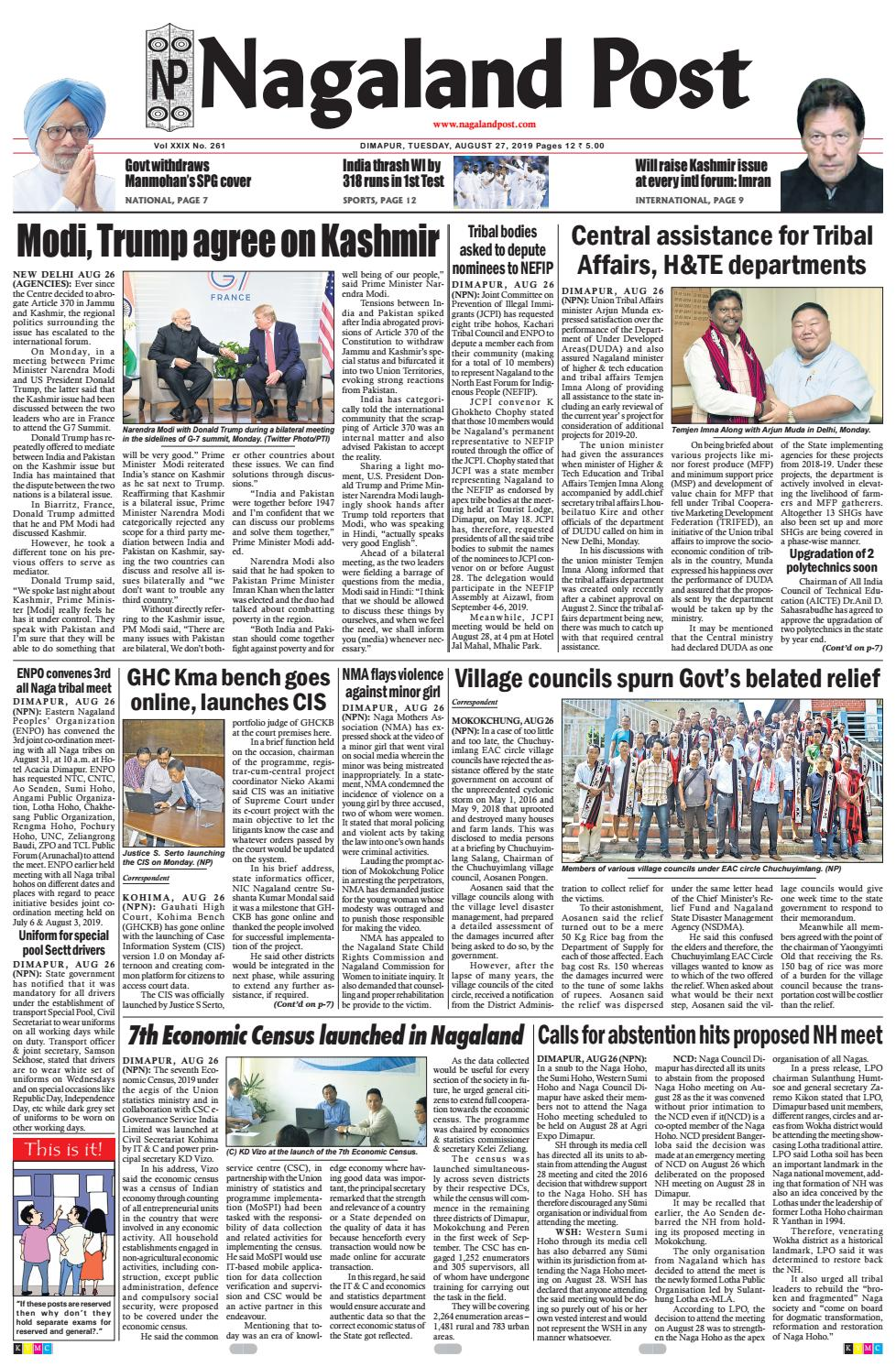 August 27, 2019 by Nagaland Post - issuu
