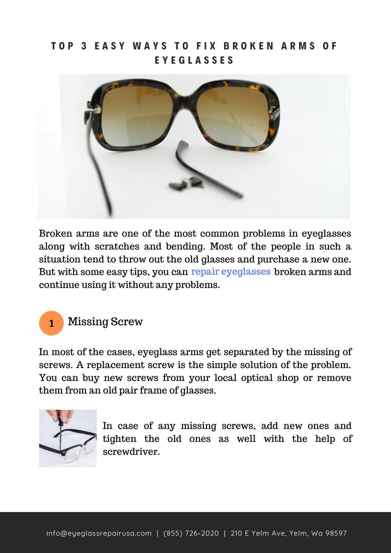 Top 3 Easy Ways To Fix Broken Arms Of Eyeglasses By Eyeglass Repair Usa Issuu