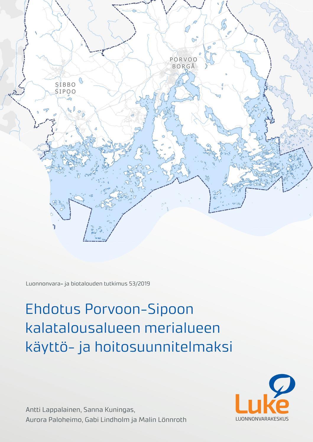 Ehdotus Porvoon Sipoon Kalatalousalueen Merialueen Kaytto Ja
