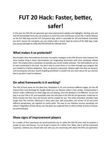 FUT 20 Hack by Lisa Hall - issuu